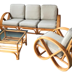 Bamboo Couch And Chairs Bubble Chair Stand Uk Pretzel Arm Rattan Sofa Set Of 3 Chairish For Sale