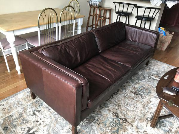 leather sofa like pottery barn how to clean microfiber couch austin espresso chairish for sale in chicago image 6 of