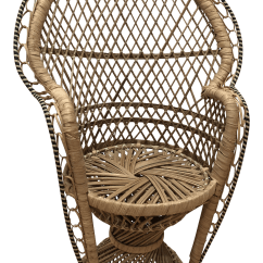 Rattan Peacock Chair Red Leather Barrel 20th Century Boho Chic Mini Chairish For Sale