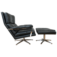 Vintage Swedish Leather Lounge Chair & Ottoman   Chairish