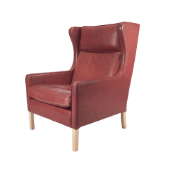 Bedroom Club Chair Linen Covers For Weddings Vintage Used Accent Chairs Chairish 1960s Danish Modern Mogensen Highback Brick Red Leather Lounger