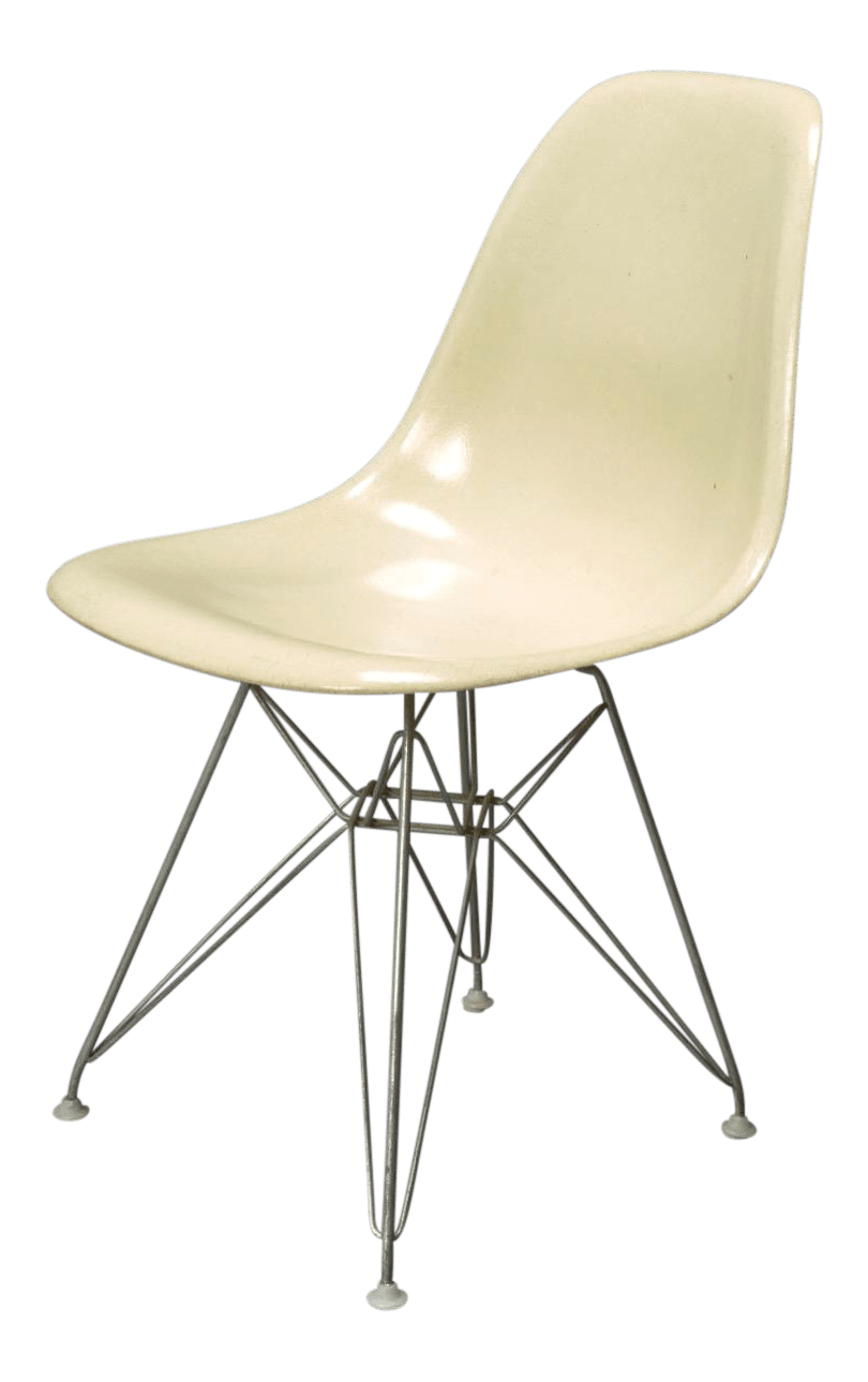 fiberglass shell chair white comfy 1950s mid century modern charles eames chairish for sale