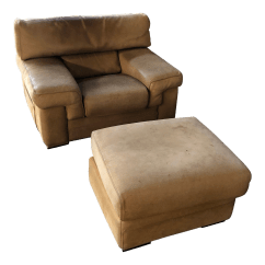 Leather Chair Ottoman Chicco Hook On Highchair Recall Vintage Used And Sets Chairish Roche Bobois Thick Nubuck For Sale