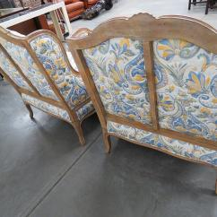 Country Style Wingback Chairs Stakmore Folding Uk Lovely French And Ottomans A Pair Blue For Sale Image 8