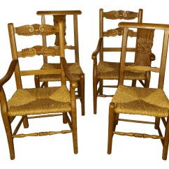 Rush Seat Chairs White Garden For Weddings 1970s French Country Hand Carved Set Of 4 Chairish