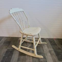 White Wood Rocking Chair Discontinued Universal Dining Chairs Ivory Farmhouse Chairish 1900s For Sale Image 5 Of