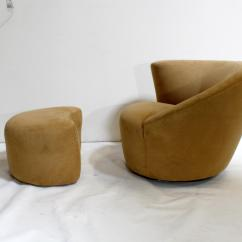 Swivel Club Chair With Ottoman Brazilian Hammock Vladimir Kagan Nautilus Corkscrew And Weiman Preview Furniture For Sale