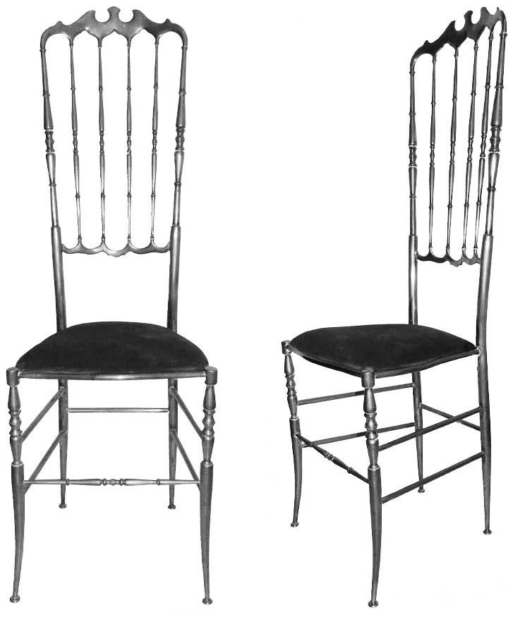 neoclassical vintage eight nickel plated chiavari chairs for sale image 3 of 3