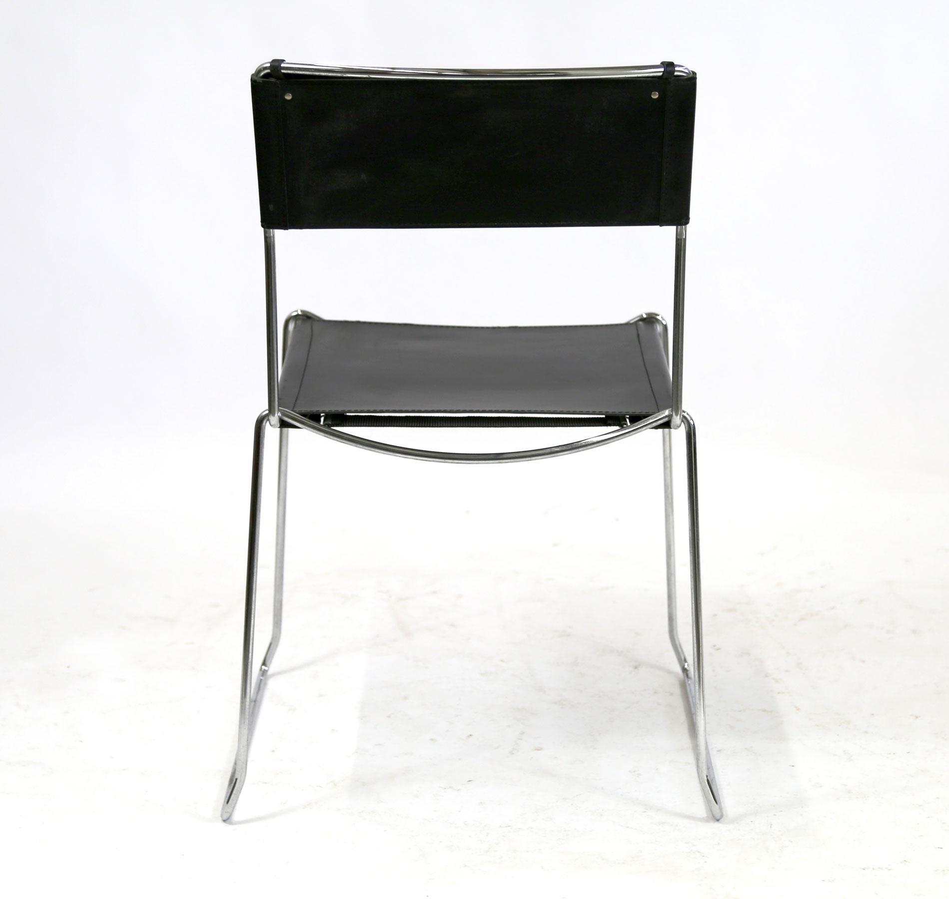 leather chrome chair power wheelchair bags italian made bauhaus black chairish 1990s for sale image 5 of 11