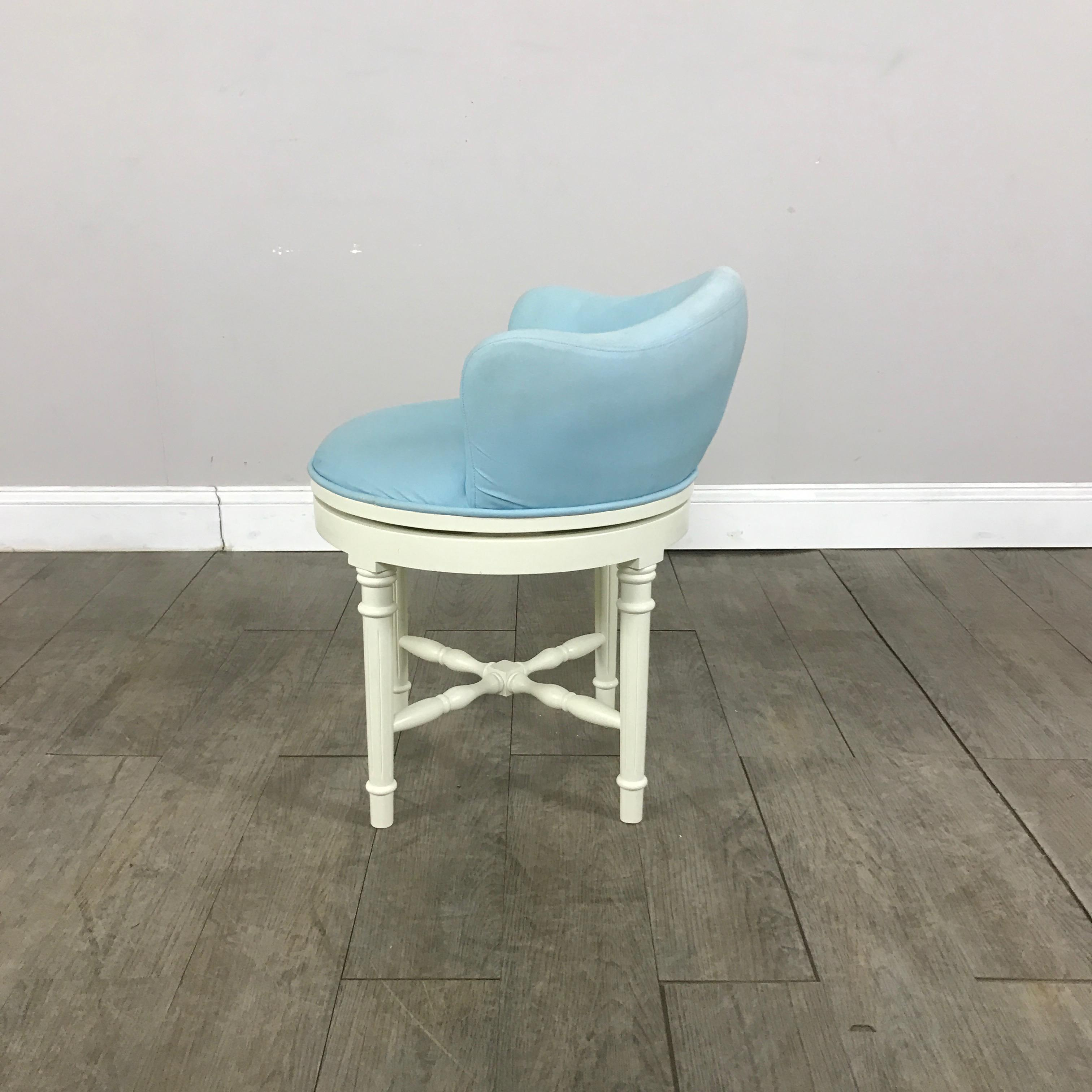 vanity chair pottery barn wedding cover hire rotherham sky blue stool chairish fabric for sale image 7 of 9