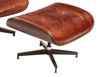 Mid-Century Leather Chair & Ottoman | Chairish