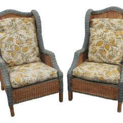 Wicker Wingback Chairs Patio Sling Chair Fabric A Pair Chairish