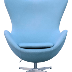 Mid Century Egg Chair Wrought Iron Cushions Outdoor Modern Arne Jacobsen Style Baby Blue Chairish For Sale