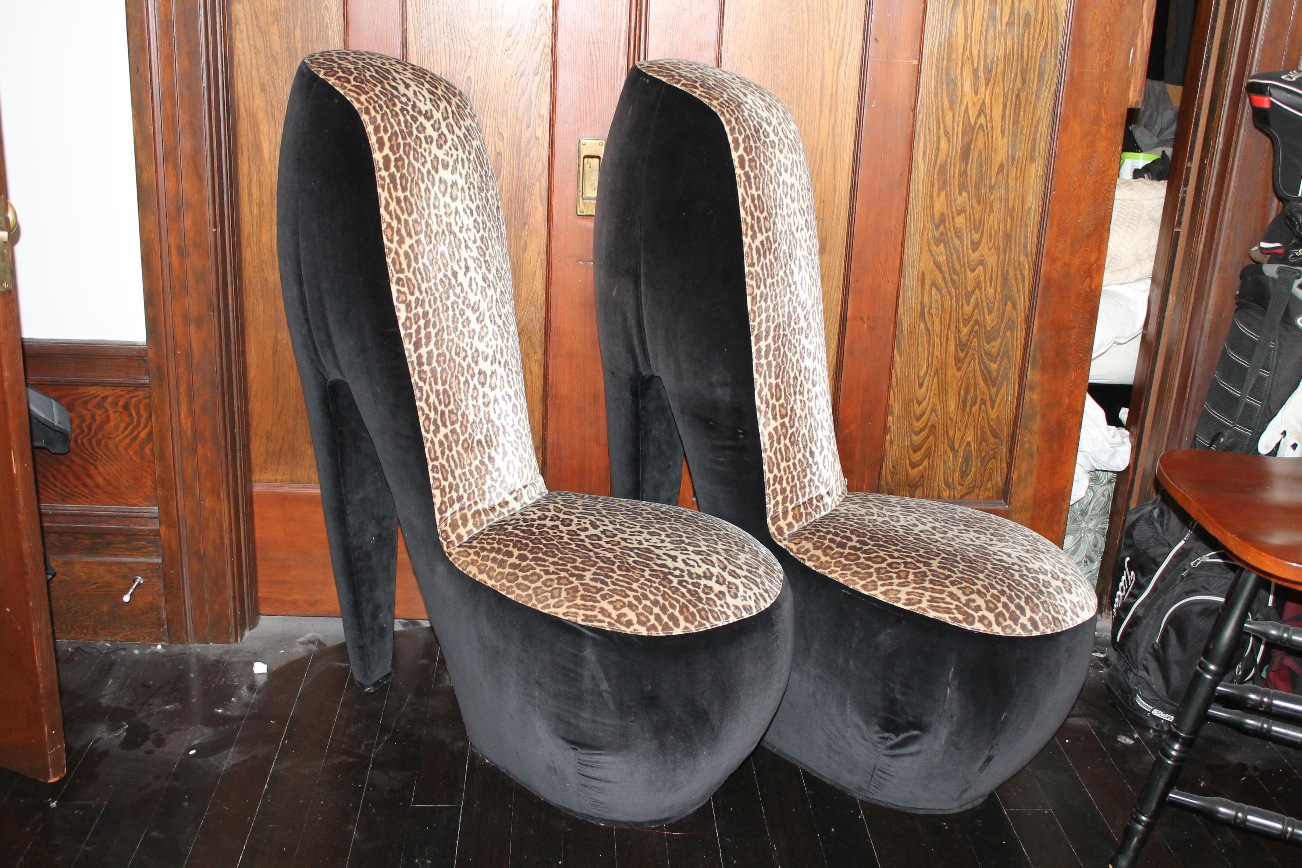 leopard high heel chair wicker that hangs from ceiling print shoe chairs a pair chairish these two side have been in my family for over 20 years