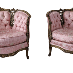 Damask Accent Chair Optic Dx Seat Gaming French Provincial Tufted And Hand Carved Pink Chairs A Pair For Sale