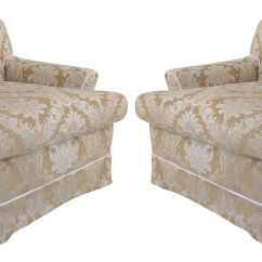 Rope Bottom Chair White Leather Dining Room Chairs Damask Down Filled Cushion Skirted Trim Club A Pair