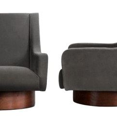 Swivel Lounge Chairs Chair Cover Elegance Iowa Sophisticated Walnut And Charcoal Cotton Velvet A Pair For Sale