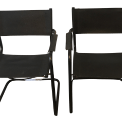 Leather Sling Chairs Swivel Chair Explode Mid Century Modern Black A Pair Chairish