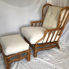 Rattan Wingback Chairs Folding And Table Target Vintage Chair Ottoman A Pair Chairish For Sale Image 9 Of 11