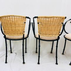 Metal Bistro Chairs Used Rocking Vintage Wicker Chairish Faux Bamboo For Sale Image 7 Of 13