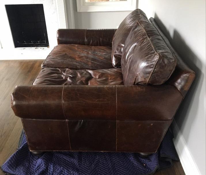 72 lancaster leather sofa berne restoration hardware chairish for sale image 4 of 6