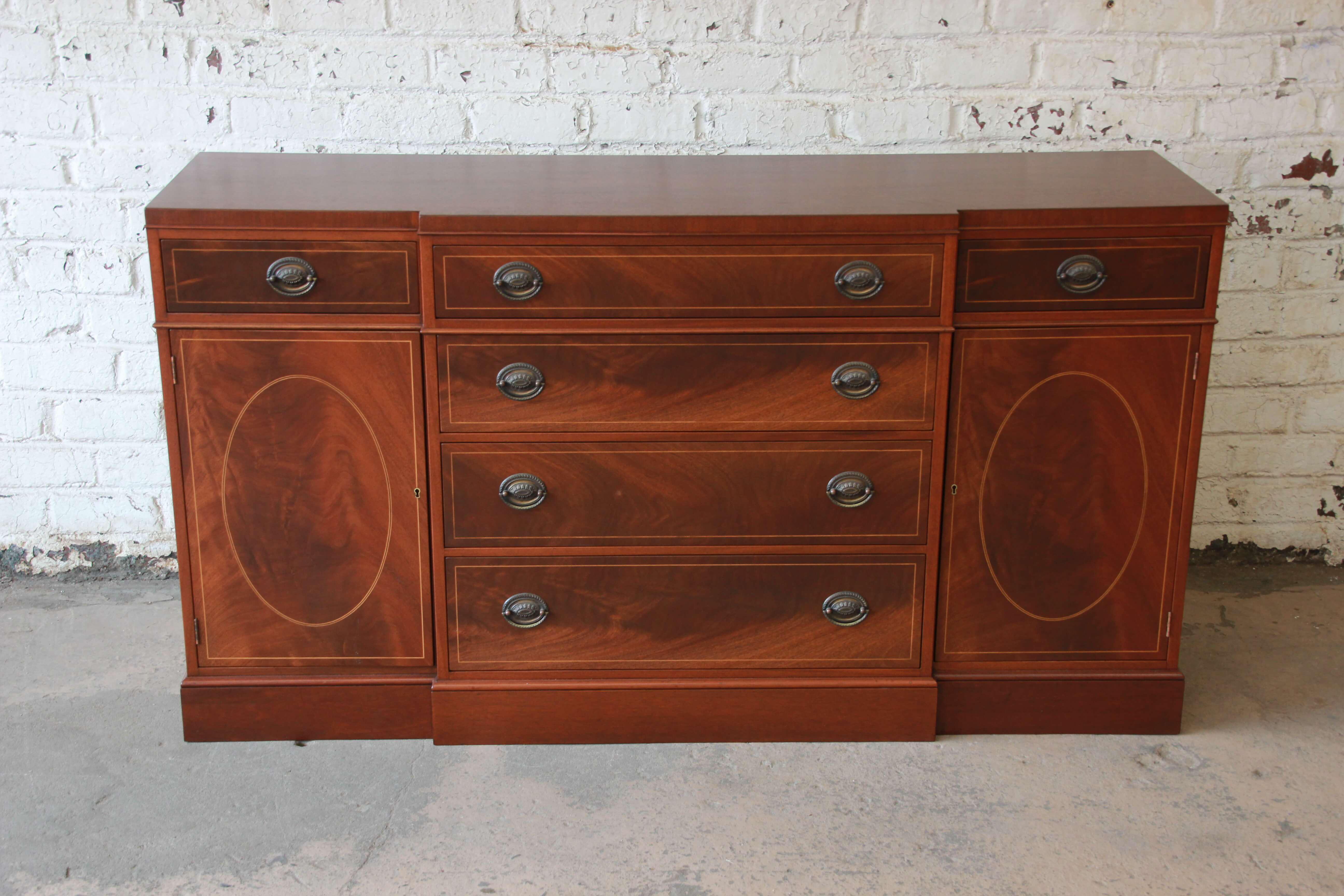 Baker Furniture Inlaid Mahogany Sideboard Buffet Chairish
