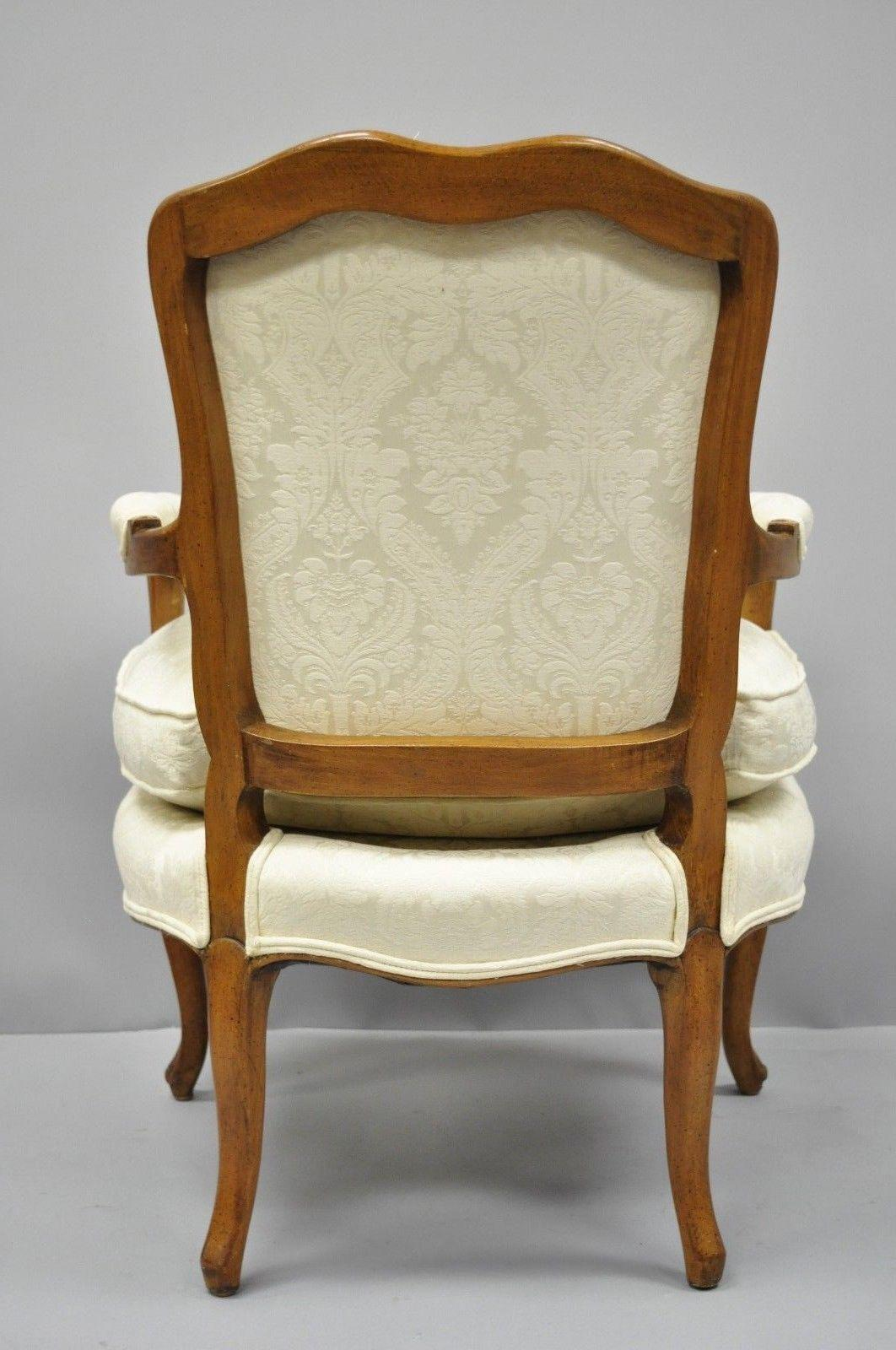 white upholstered chairs orange outdoor chair cushions french louis xv style fauteuil armchairs a pair for sale image