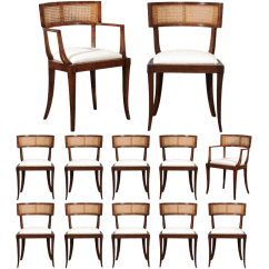 Dining Chairs With Caning Height Adjustable Chair Mechanism Incredible Exquisite Set Of Twelve Klismos Cane By Baker Circa 1958 For Sale