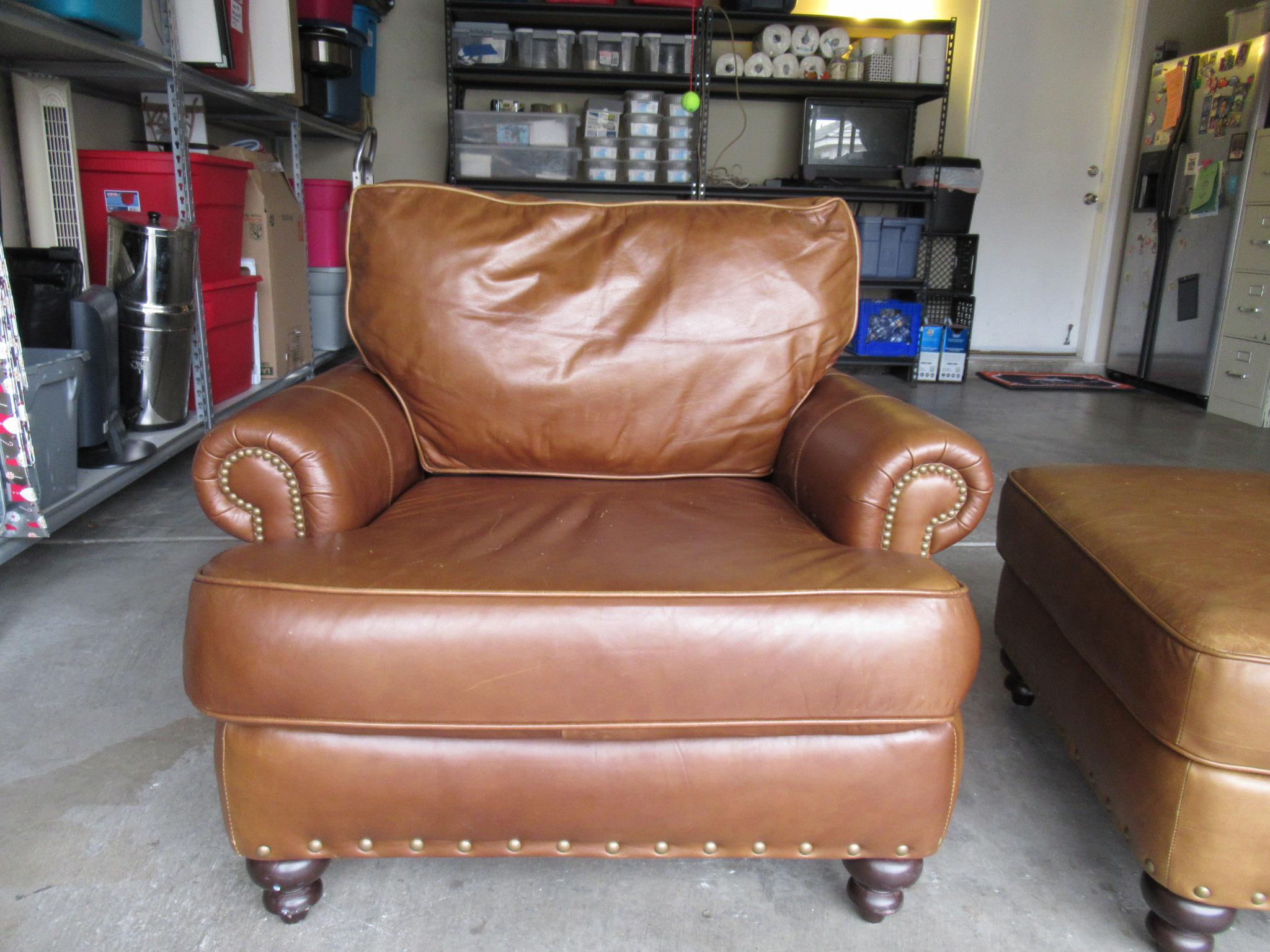 bernhardt brown leather club chair minnie mouse chairs for kids modern light ottoman chairish this was included in the sale of a home we bought i only know traditional