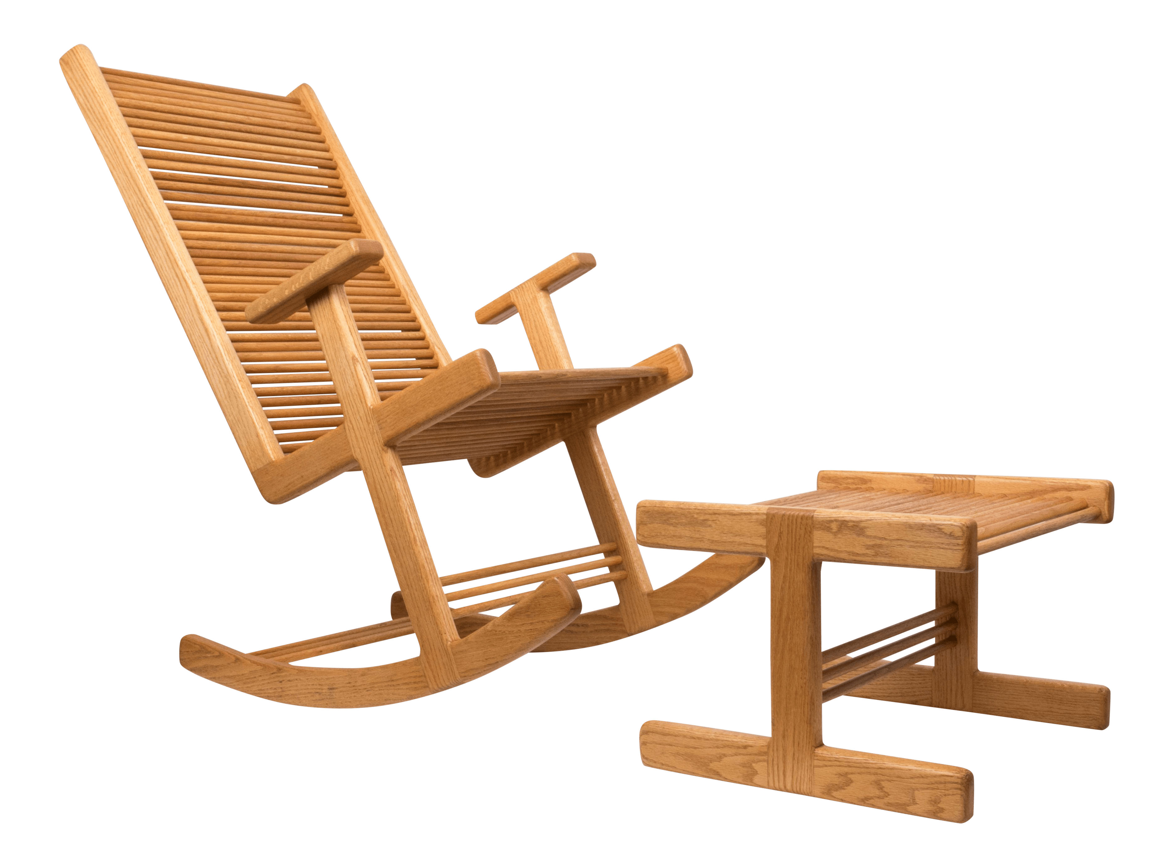 rocking chair footrest gym workout youtube vintage used mid century modern chairs chairish 1980s stephen hynson oak dowel and ottoman