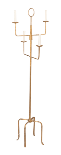 Parzinger Style Gilt Metal Floor Lamp | Chairish