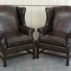 Ethan Allen Wingback Chairs Hot Pink Velvet Exceptional Pair Of Leather Decaso For Sale Image 11