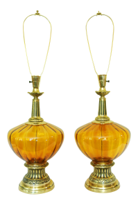 Mid-Century Modern Amber Glass Lamps - A Pair   Chairish