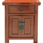 Chinese Distressed Brick Red Metal Hardware End Table Nightstand Chairish