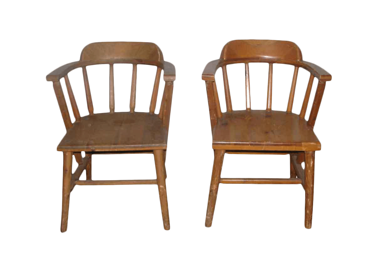 captains chair modern lounge chairs for living room solid pine wooden a pair chairish sale