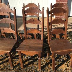 Vintage Oak Dining Chairs Best Bedroom Lounge Chair High Back French Set Of 7 Chairish For Sale Image 4