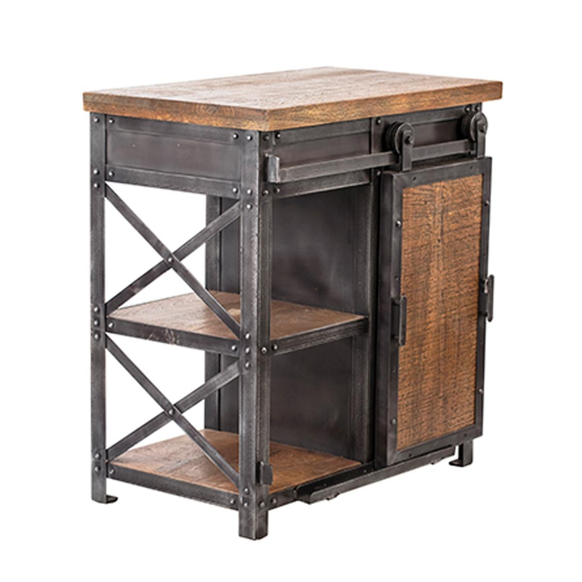 salvaged mango wood iron side table