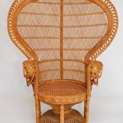 Rattan Peacock Chair Office Informa Emmanuel Chairs A Pair Chairish Iconic Matched Of And Wicker Featuring Full Fan Back