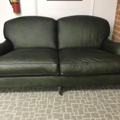 Dark Green Leather Sofa Reupholster London Traditional Chairish With A Round Body The Stands On Oak Wood