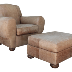 Leather Chair Ottoman Set Vintage Metal Chairs Club And Chairish For Sale