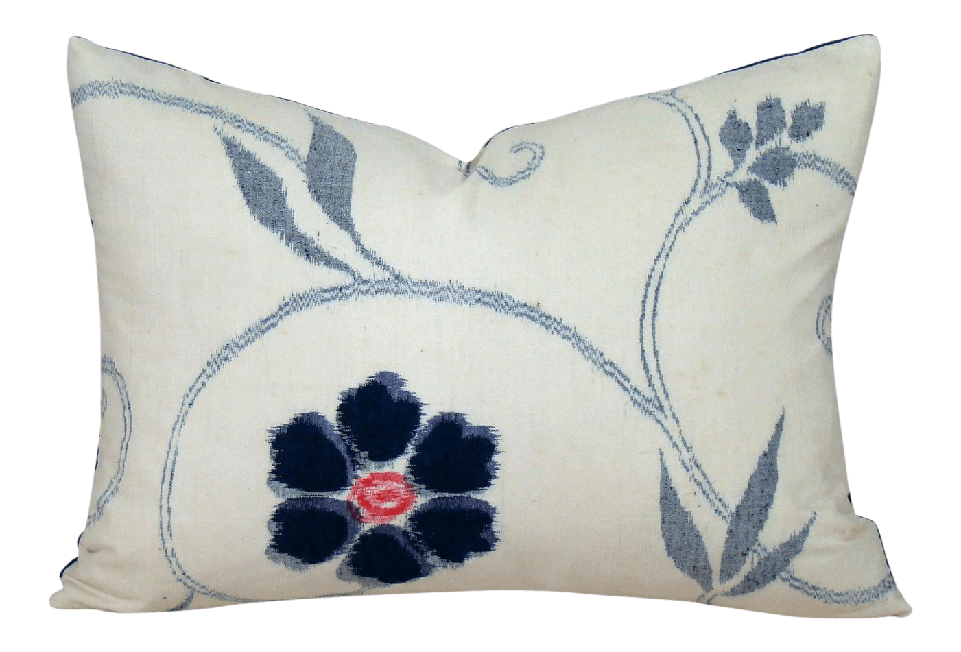 blue and white floral ikat lumbar pillow cover