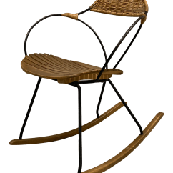 Metal Rocking Chair Runners Huge Folding 1950s Vintage Arthur Umanoff Rattan And Iron Chairish For Sale