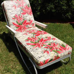 Chaise Lawn Chair Lounge Ikea Vintage Bunting Aluminum Patio Chairish Offered Is A Beautiful With Red Floral Vinyl Cushions