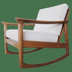 Danish Modern Rocking Chair White Bistro Hire Vintage Mid Century Chairish For Sale