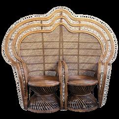 Rattan Peacock Chair Chairside Table Double Plantation Chairish
