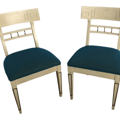 Vintage Wooden Dining Chairs Hanging Chair From Ceiling Ikea Used For Sale Chairish 1960s Klismos Style Greek Key A Pair
