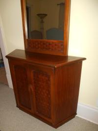 Mid Century LAne Console Table & Mirror | Chairish