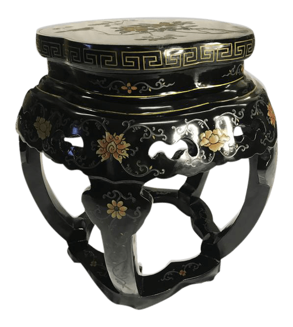 stool chair in chinese aluminum chairs for sale antique asian black lacquer hand painted carved garden seat