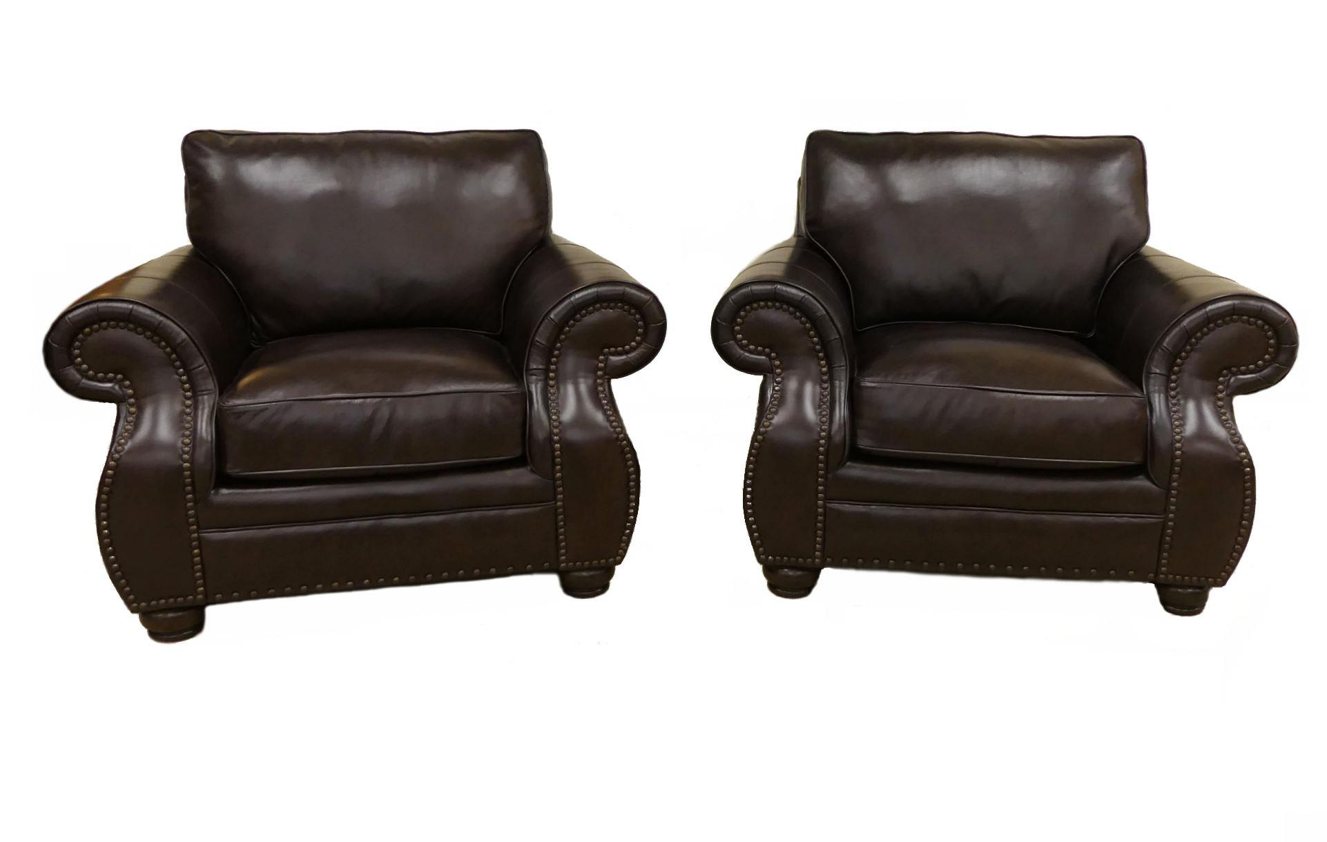 bernhardt brown leather club chair papasan cushion outdoor furniture genuine classic chairs a pair for sale image 11 of