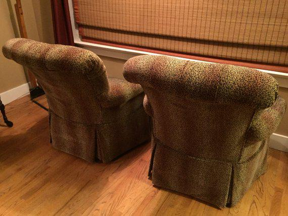 high back tufted chair costco office chairs in store custom upholstered leopard print lounge a hollywood regency pair for sale